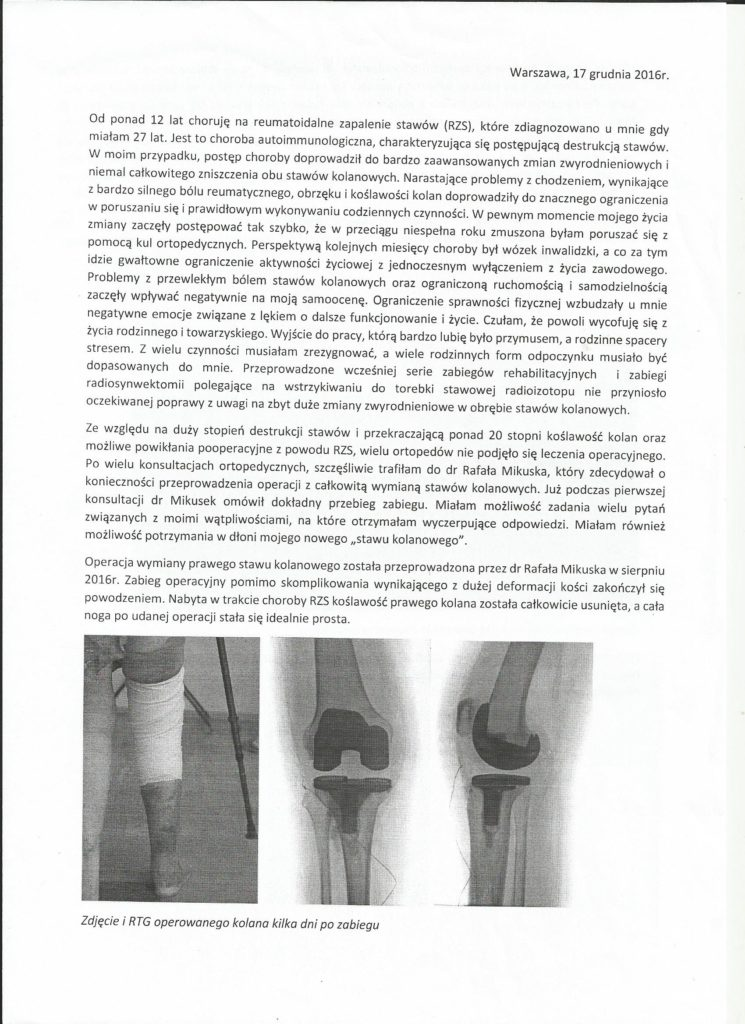 endoproteza stawu kolanowego u pacjentki z RZS